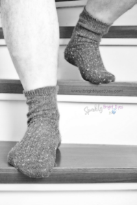 How my hubby can drive me insane- man's legs with dark socks on walking down stairs