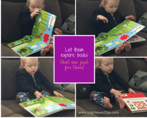Reading with infants Tips for making reading with toddlers easiertoddler looking at picture book on lounge