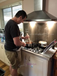 when your husband cooks for you - joining the men who cook club - man cooking spaghetti