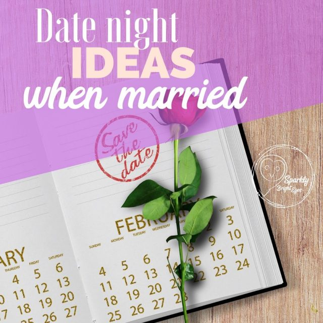 Date night ideas when married. Image of single red rose placed on a calendar page.